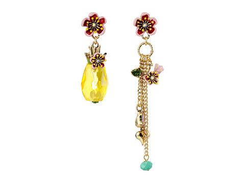 Betsey Johnson - Tutti Frutti Pineapple Mismatch Earrings (Yellow) Earring