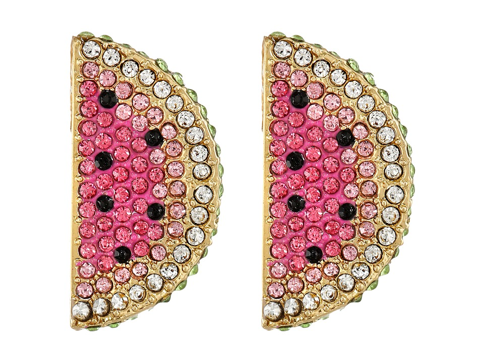 Betsey Johnson - Ocean Drive Pink Watermelon Button Earrings (Pink Multi) Earring
