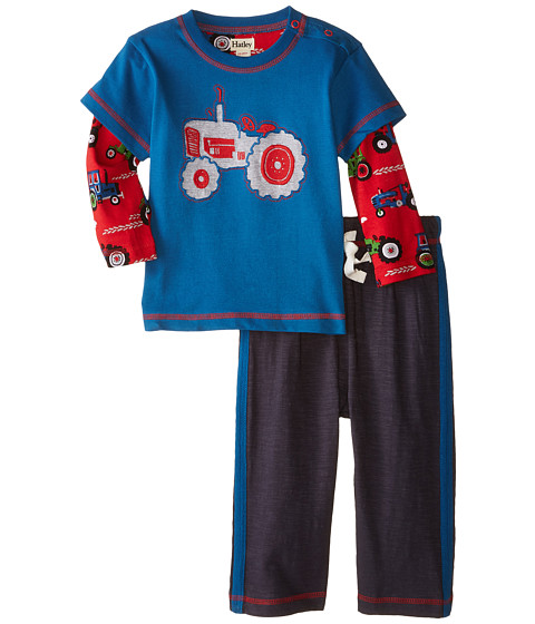 Hatley Kids - Tee Track Pants Set - Farm Tractors (Infant) (Blue) Boy's Active Sets