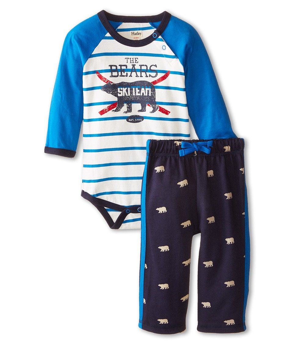 Hatley Kids - Raglan One-Piece Pants Set - Polar Bear (Infant) (Blue) Boy's Active Sets