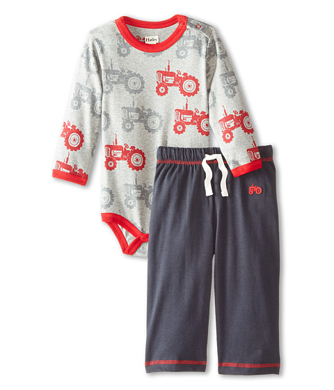 Hatley Kids - One-Piece Pants Set - Farm Tractors (Infant) (Grey) Boy's Active Sets