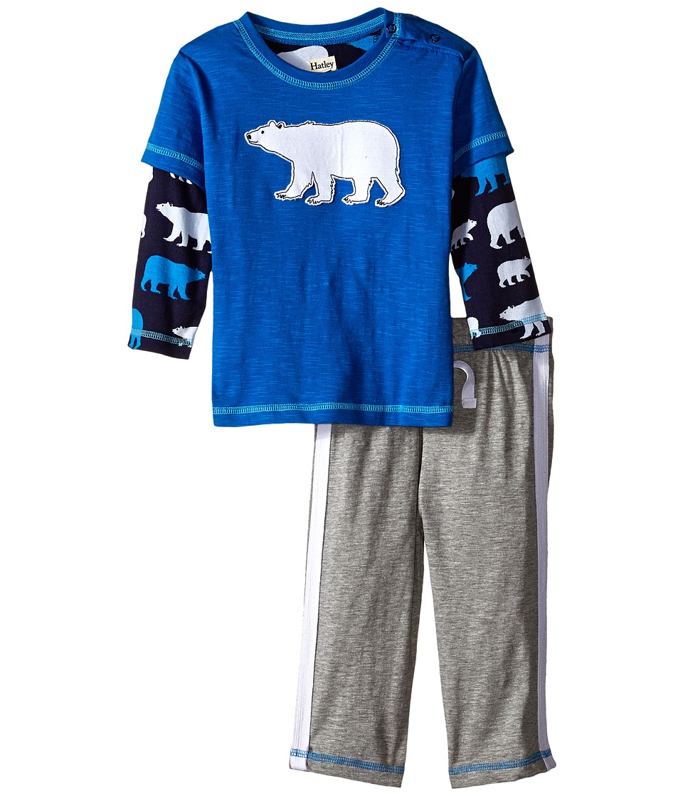 Hatley Kids - Tee Track Pants Set - Classic Polar Bears (Infant) (Blue) Boy's Active Sets
