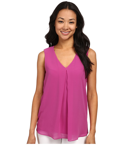 Calvin Klein - Sleeveless V-Neck Chiffon Top (Vivid Purple) Women's Sleeveless