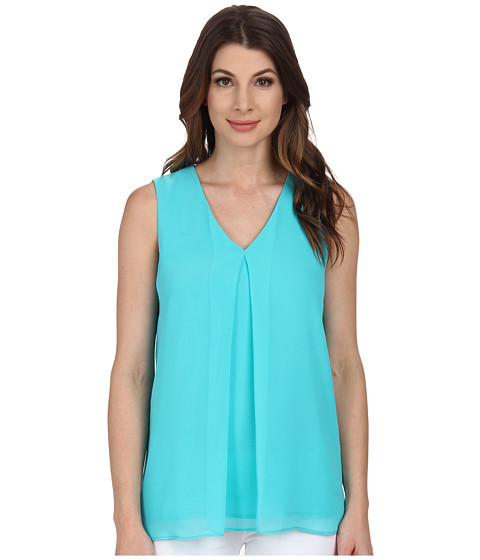 Calvin Klein - Sleeveless V-Neck Chiffon Top (Manganese) Women's Sleeveless