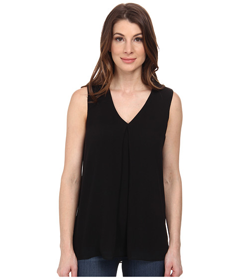 Calvin Klein - Sleeveless V-Neck Chiffon Top (Black) Women