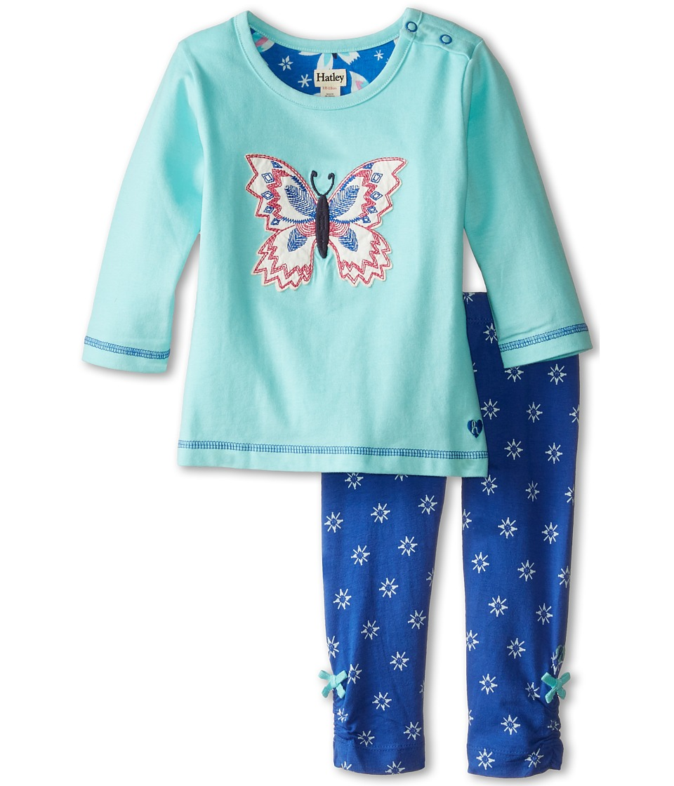Hatley Kids - Long Sleeve Tee Leggings Set - Icy Butterflies (Infant) (Light Blue) Girl's Active Sets