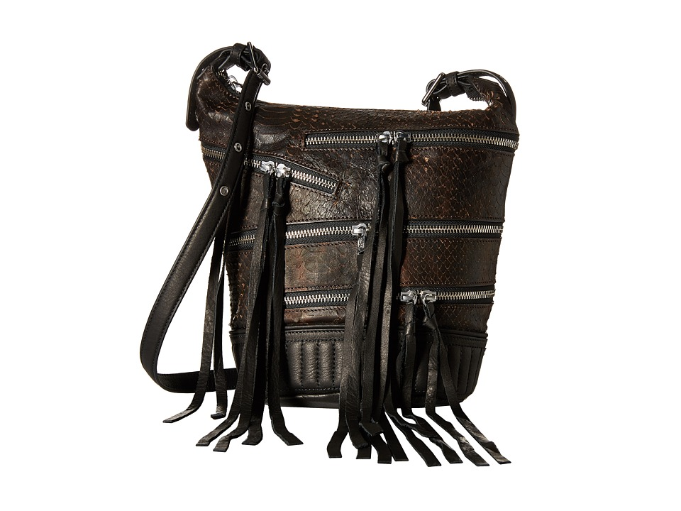 ASH - Babe Crossbody (Dark Brown Snake) Handbags