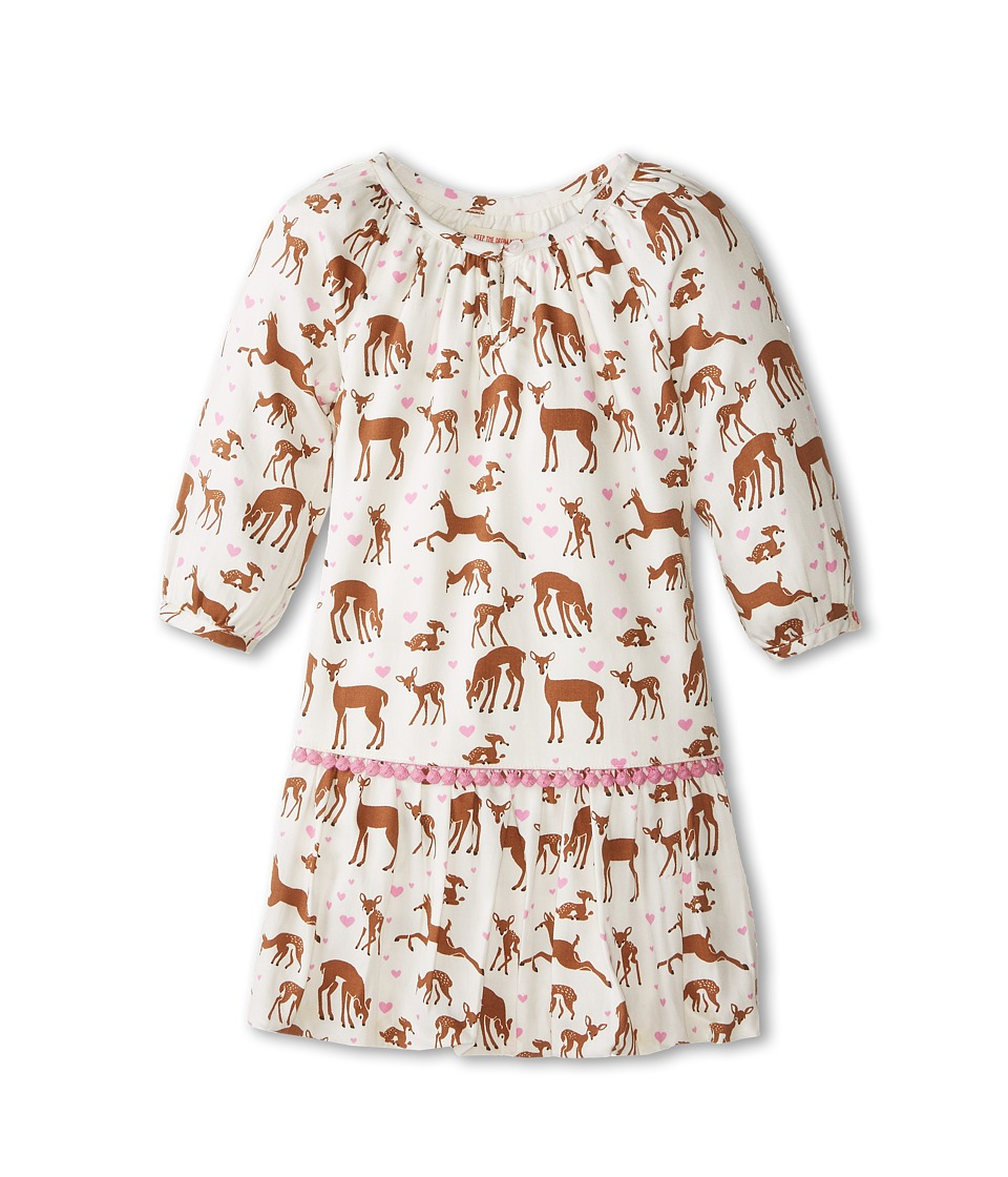 Hatley Kids - Pom Pom Dress - Soft Deers (Toddler/Little Kids/Big Kids) (White) Girl