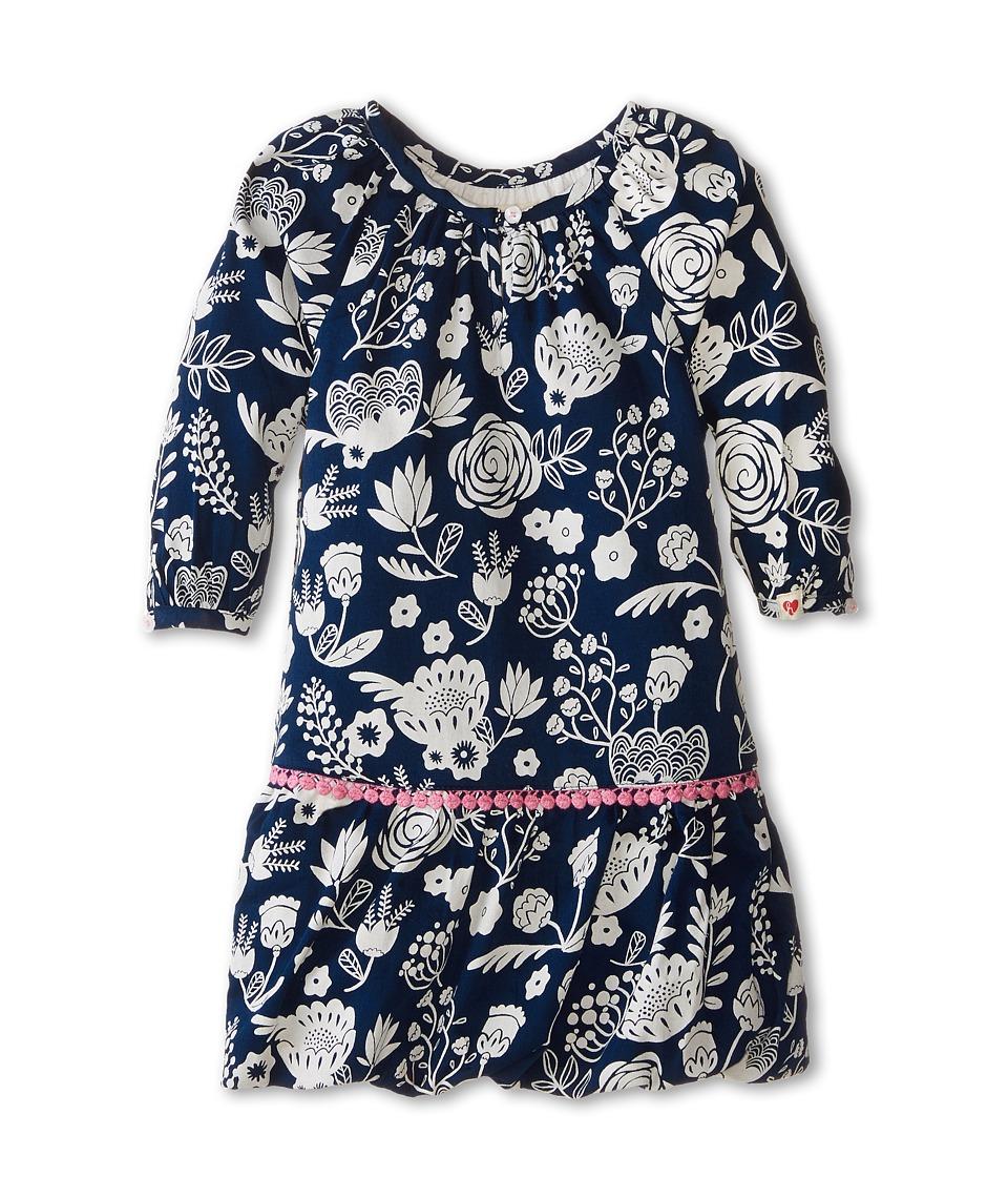 Hatley Kids - Pom Pom Dress - Field Flowers Silhouette (Toddler/Little Kids/Big Kids) (Blue) Girl