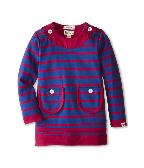Hatley Kids - Button Neck Dress - Navy Stripe (Toddler/Little Kids/Big Kids) (Blue) Girl's Dress