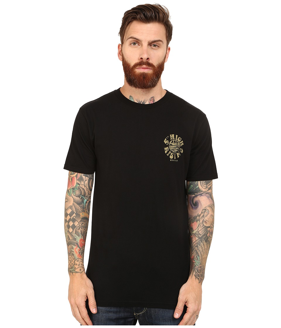 O'Neill - Five Foot Short Sleeve Screens Impression T-Shirt (Black) Men's Short Sleeve Pullover