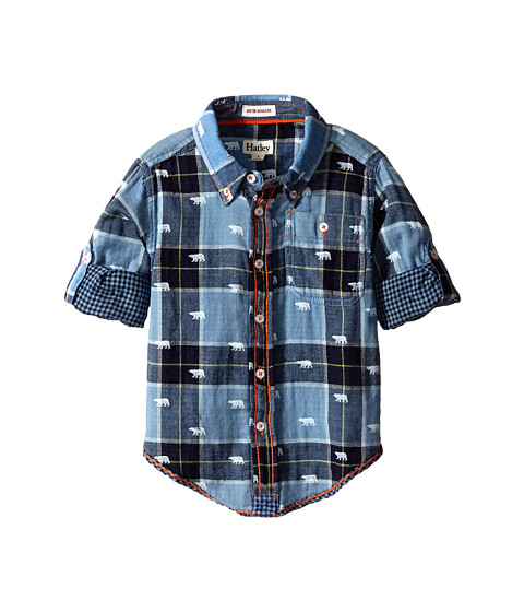 Hatley Kids - Plaid Button Shirt - Polar Bears (Toddler/Little Kids/Big Kids) (Blue) Boy's Clothing