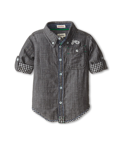 Hatley Kids - Plaid Button Shirt - Farm Tractor (Toddler/Little Kids/Big Kids) (Grey) Boy's Clothing