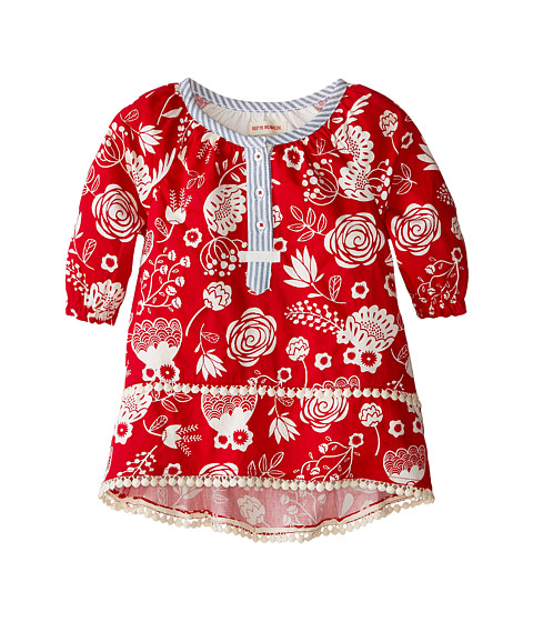 Hatley Kids - Pom Pom Tunics - Field Flowers - Silhouette (Toddler/Little Kids/Big Kids) (Red) Girl's Blouse