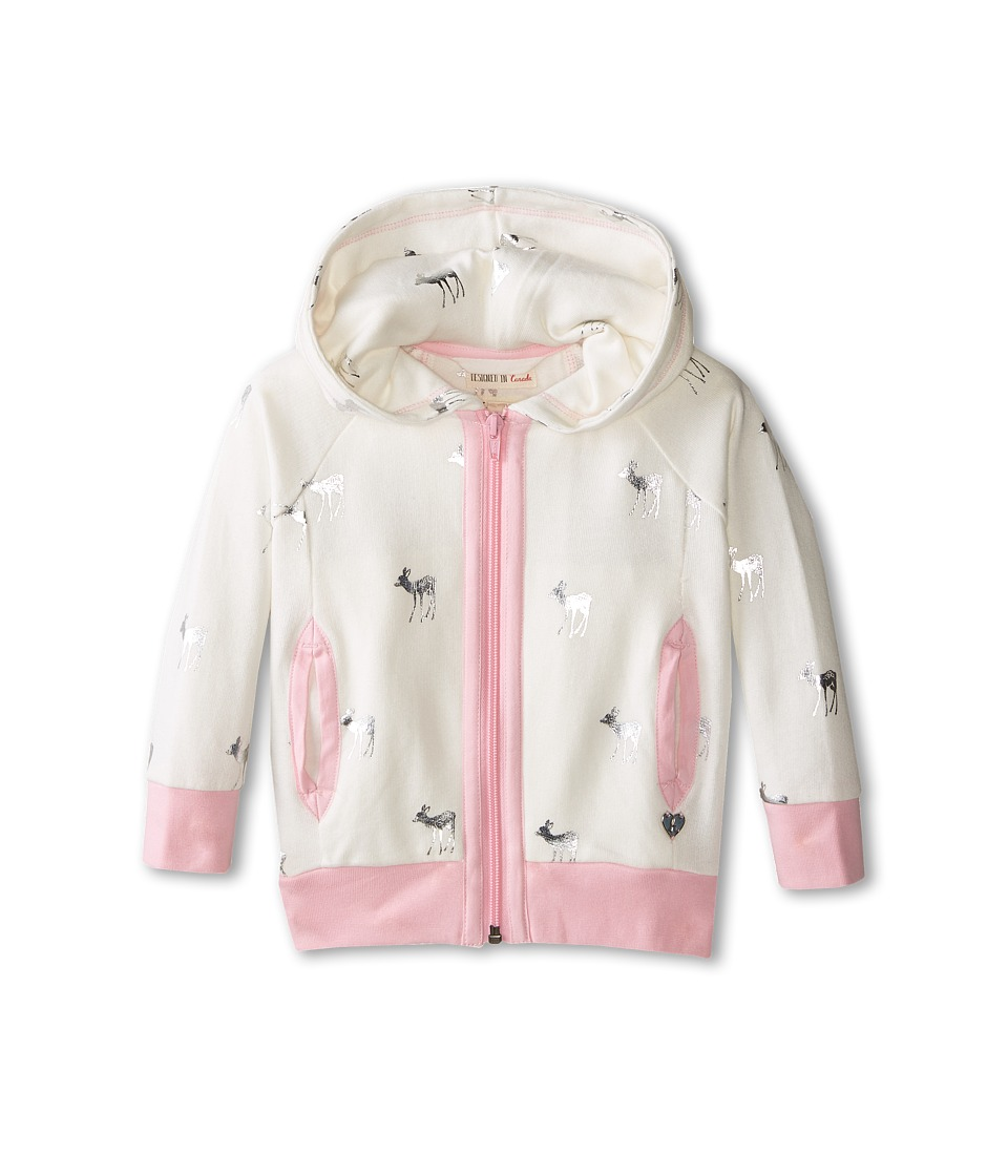 Hatley Kids - Terry Hoodie - Silver Deer (Toddler/Little Kids/Big Kids) (White) Girl