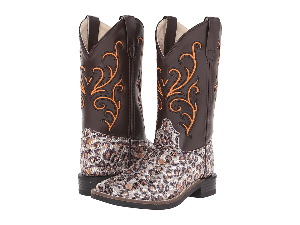 Old West Kids Boots - Western Boots (Toddler/Little Kid) (Leatherette Leopard Print) Cowboy Boots