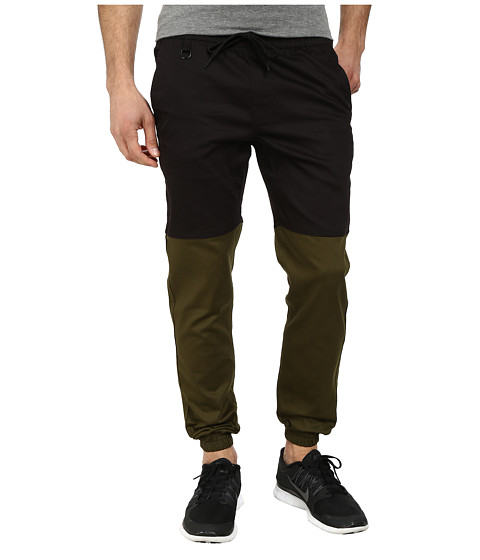 Publish - Two-Tone Joggers Pants (Black/Olive) Men's Casual Pants