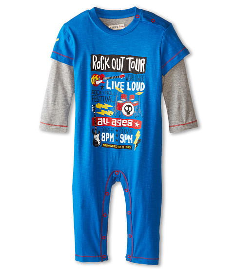 Hatley Kids - Graphic Romper - Rock Band (Infant) (Blue) Boy