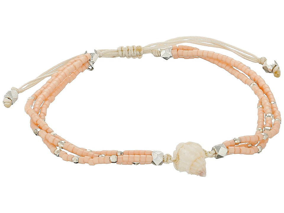 Chan Luu - 6 1/3 Adjustable Seed Bead Single w/ Shell Charm (Salmon) Bracelet