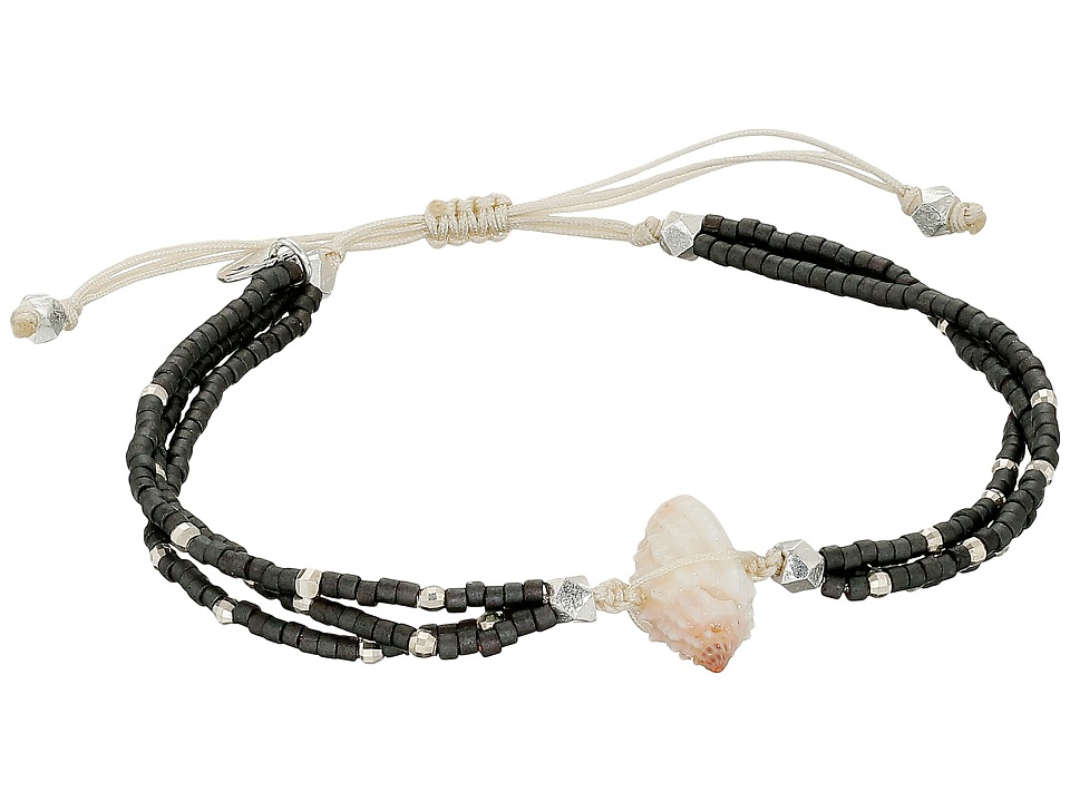 Chan Luu - 6 1/3 Adjustable Seed Bead Single w/ Shell Charm (Dark Grey) Bracelet