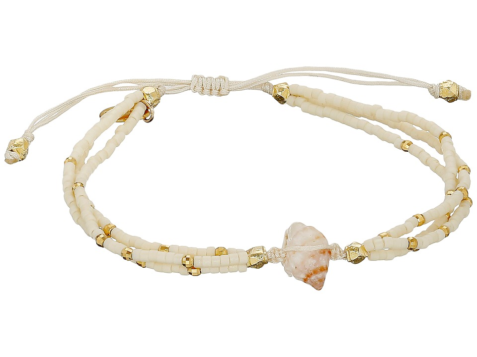 Chan Luu - 6 1/3 Adjustable Seed Bead Single w/ Shell Charm (Cream) Bracelet