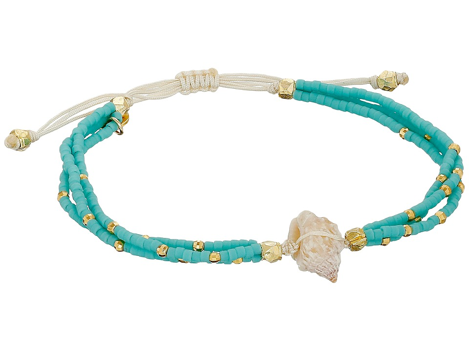 Chan Luu - 6 1/3 Adjustable Seed Bead Single w/ Shell Charm (Turquoise) Bracelet