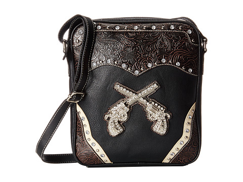 M&F Western - Carry-and-Conceal Pistol Crossbody (Black/Brown) Cross Body Handbags
