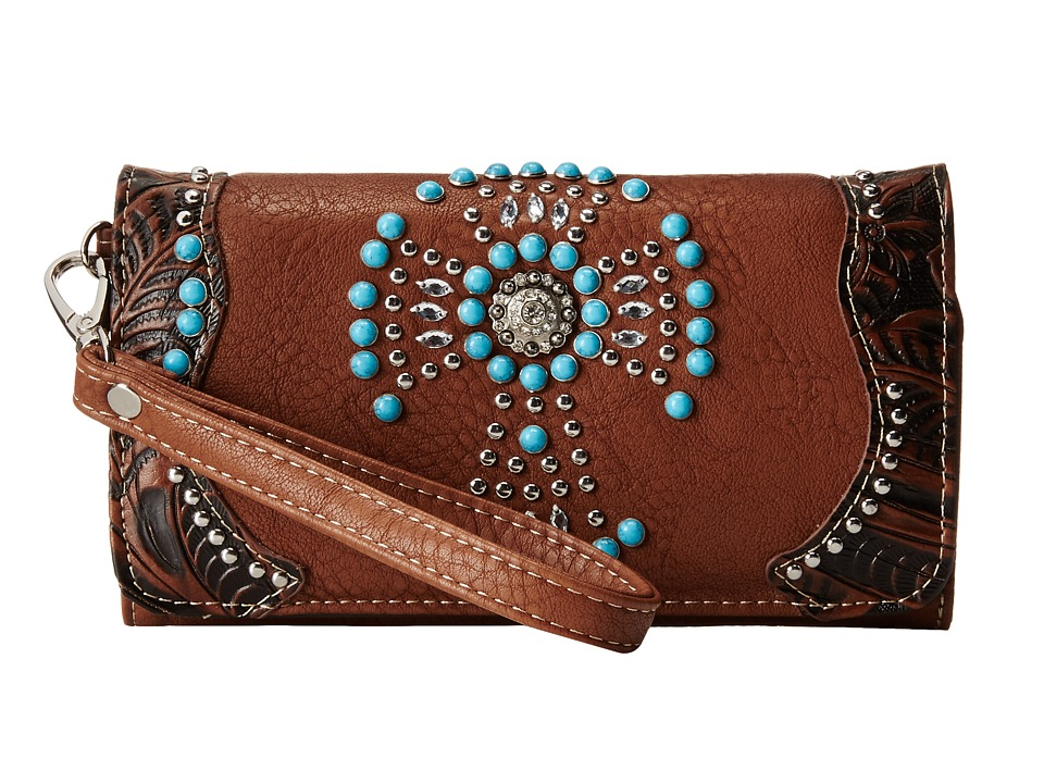 M&F Western - Turquoise Beaded Cross Wristlet Wallet (Brown) Wallet Handbags