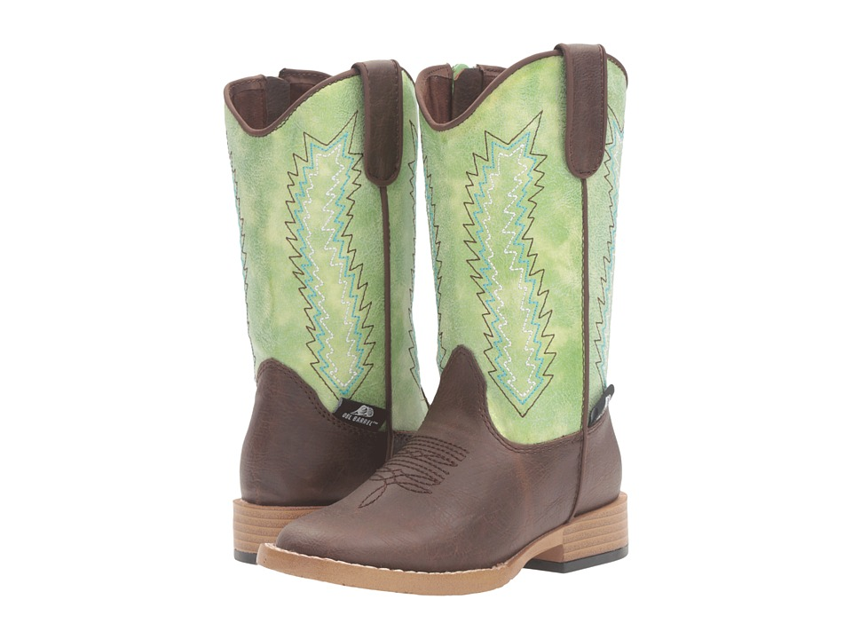 M&F Western - Wyatt Zip (Toddler) (Brown/Green) Cowboy Boots