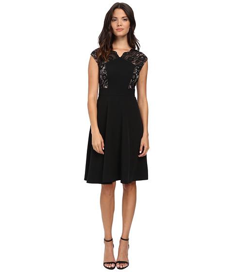 London Times - Lace Cap Sleeve Inset Waist Full Skirt (Black/Nude) Women