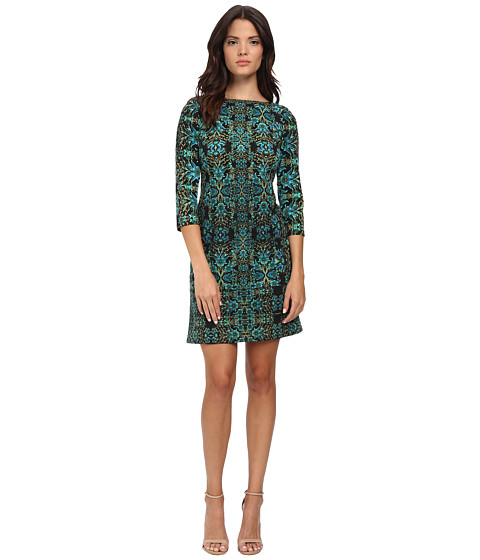 London Times - Long Sleeve Printed Ponte Shift (Black/Teal) Women's Dress