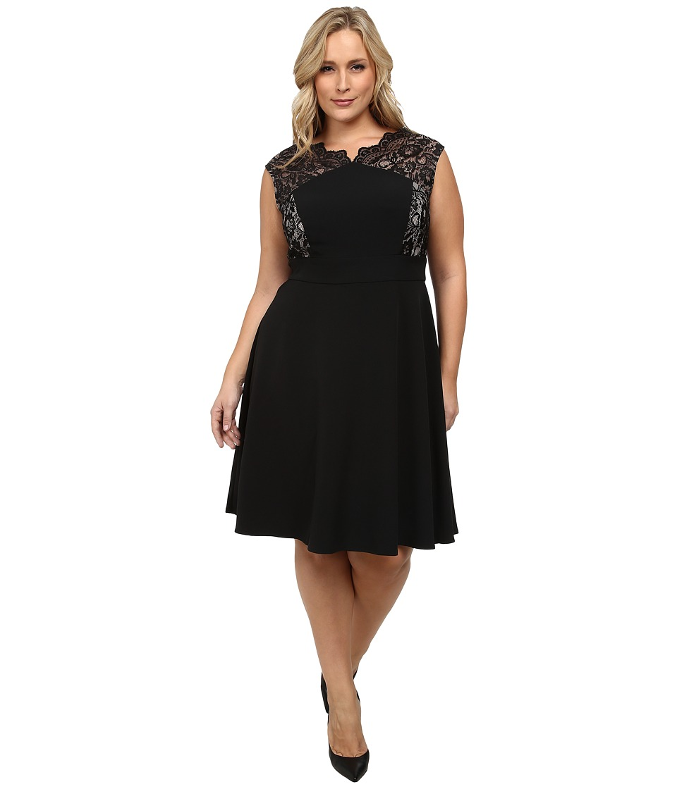 London Times - Plus Size Lace Cap Sleeve Inset Waist Full Skirt (Black/Nude) Women