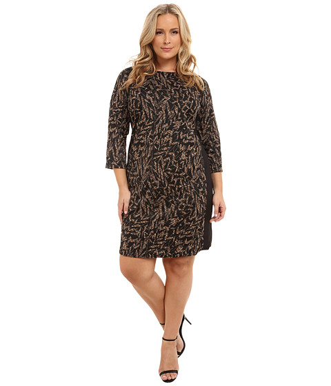 London Times - Plus Size 3/4 Sleeve Side Blocked Shift with Zippers (Black/Tan) Women's Dress