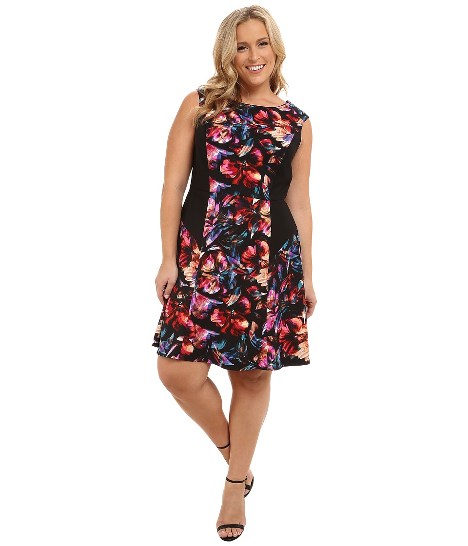 London Times - Plus Size Cap Sleeve Side Blocked Fit and Flare (Black/Red) Women