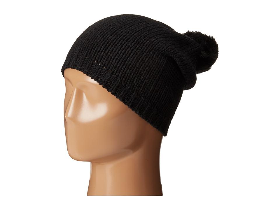 Michael Stars - Faux Fur Pom Slouch Hat (Black) Caps