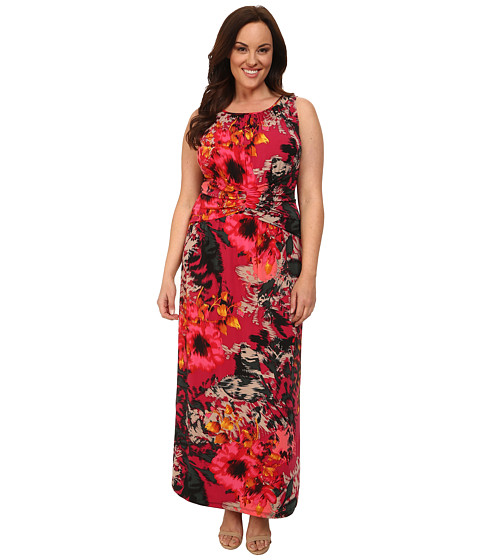 London Times - Plus Size Floral Print Maxi (Pink Multi) Women's Dress