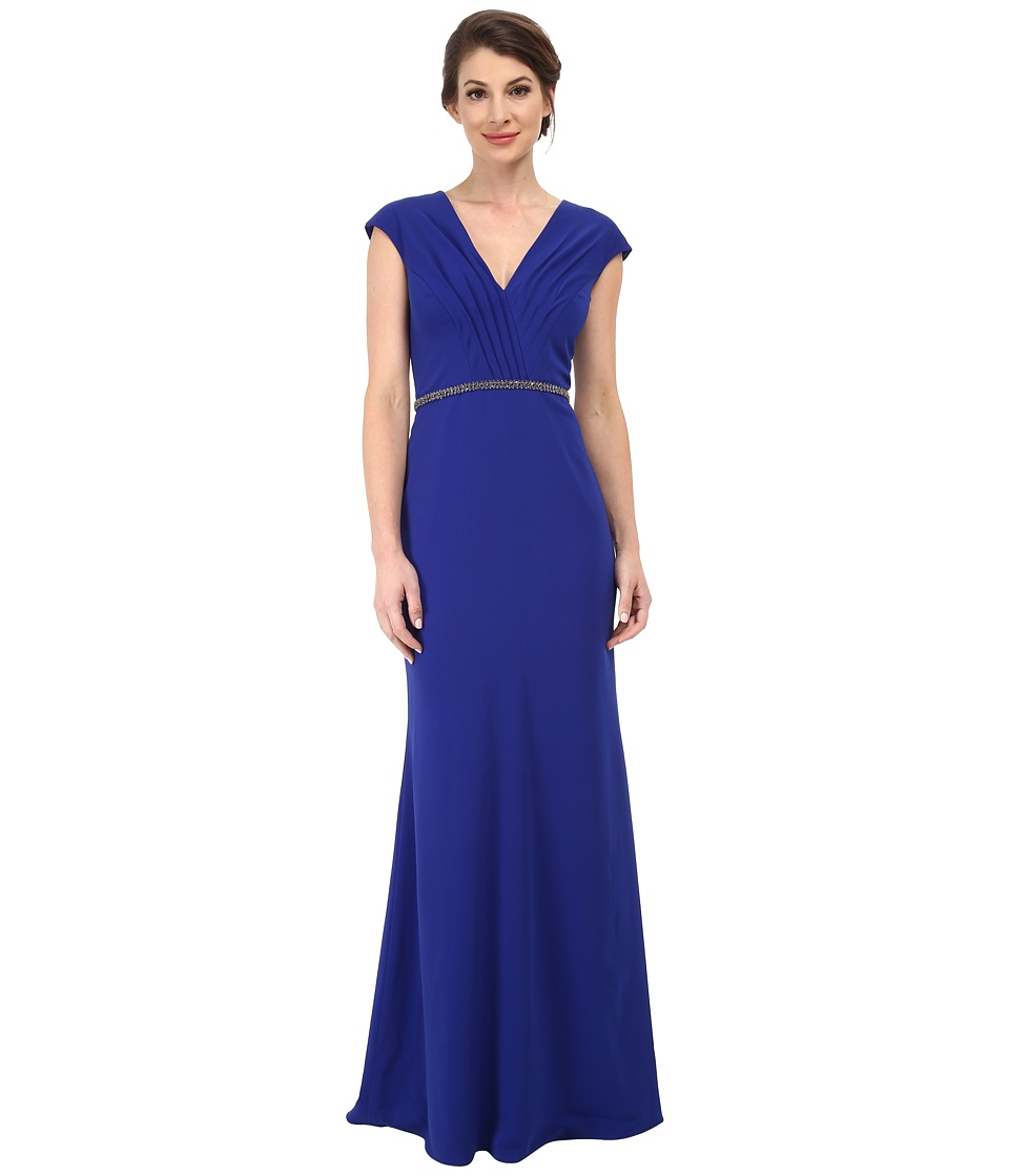 Badgley Mischka - V-Neck Cap Sleeve Crepe Gown with Embellished Waist (Electric Blue) Women