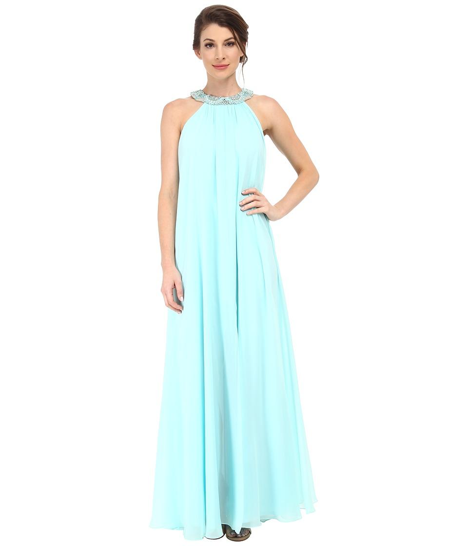 Badgley Mischka - Chiffon Halter Maxi with Necklace (Aqua) Women's Dress