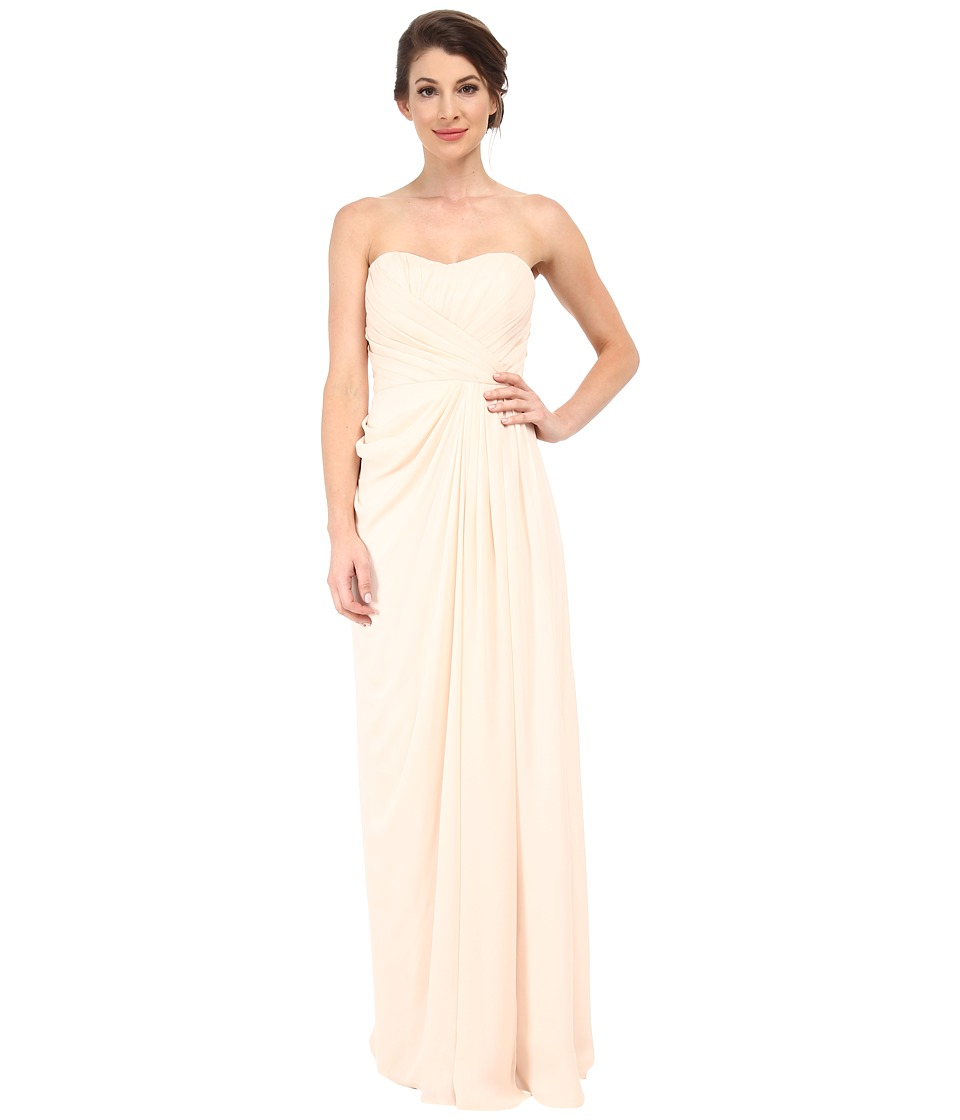 Badgley Mischka - Strapless Gown with Slit (Blush) Women's Dress