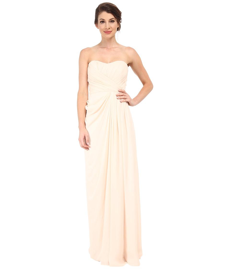 Badgley Mischka Strapless Gown with Slit (Blush) Women