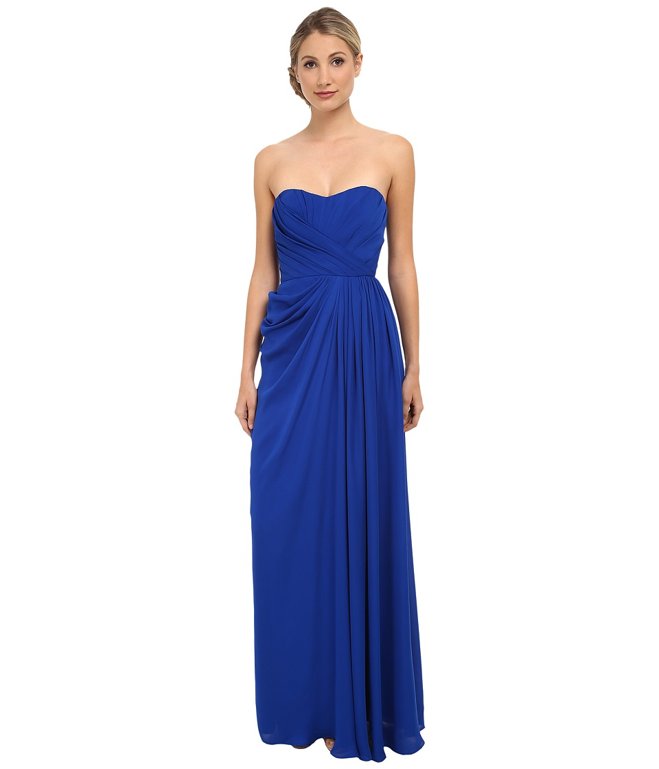 Badgley Mischka - Strapless Gown with Slit (Cobalt) Women's Dress