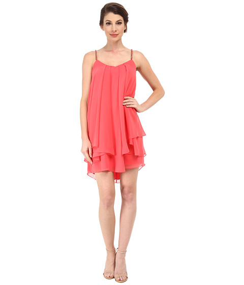 Badgley Mischka - Tiered Chiffon Ruffle with Beaded Straps (Coral) Women's Dress