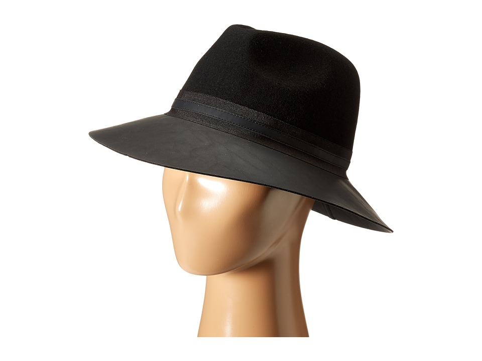 Vince Camuto - Faux Leather Brimmed Panama (Black) Caps