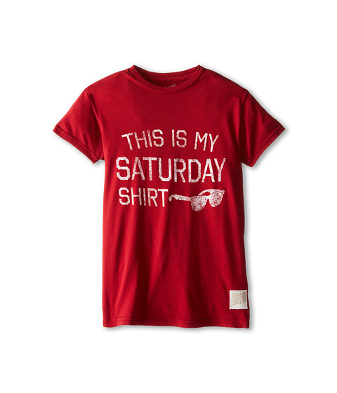 The Original Retro Brand Kids - Saturday Shirt Short Sleeve Tee (Big Kids) (Dark Red) Boy
