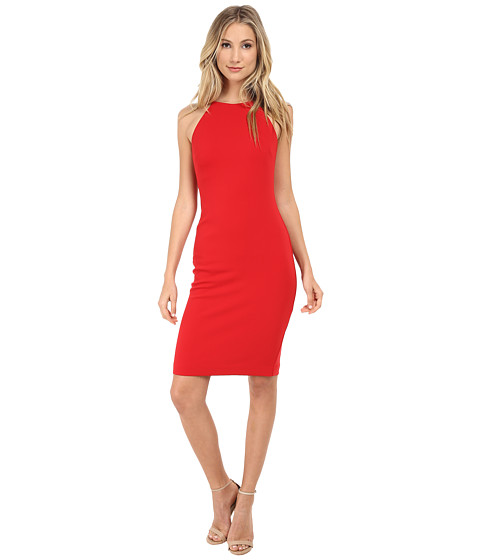 Badgley Mischka - Stretch Crepe Halter Cocktail Dress (Red) Women