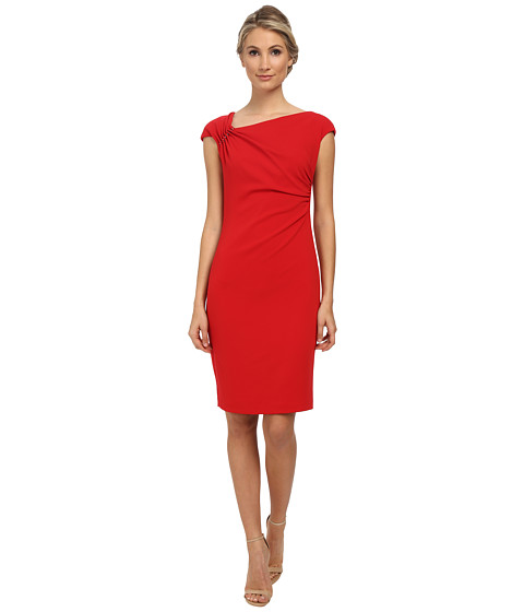 Badgley Mischka - Shirred Stretch Crepe Cocktail Dress (Red) Women's Dress
