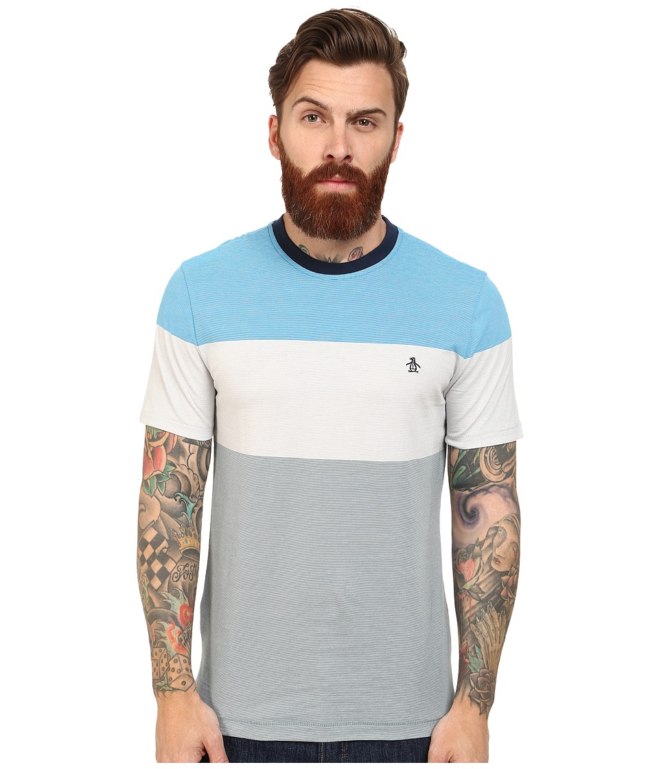 Original Penguin - Color Block Feeder Stripe Heritage Tee (Diva Blue) Men's T Shirt