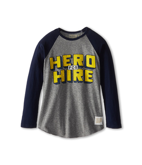 The Original Retro Brand Kids - Hero For Hire Raglan Long Sleeve Baseball Tee (Big Kids) (Streaky Grey/Navy) Boy