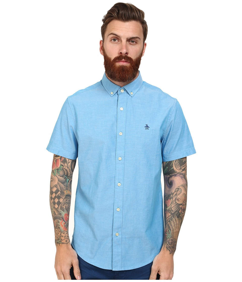Original Penguin - Core Short Sleeve Oxford Heritage (Diva Blue) Men's Clothing