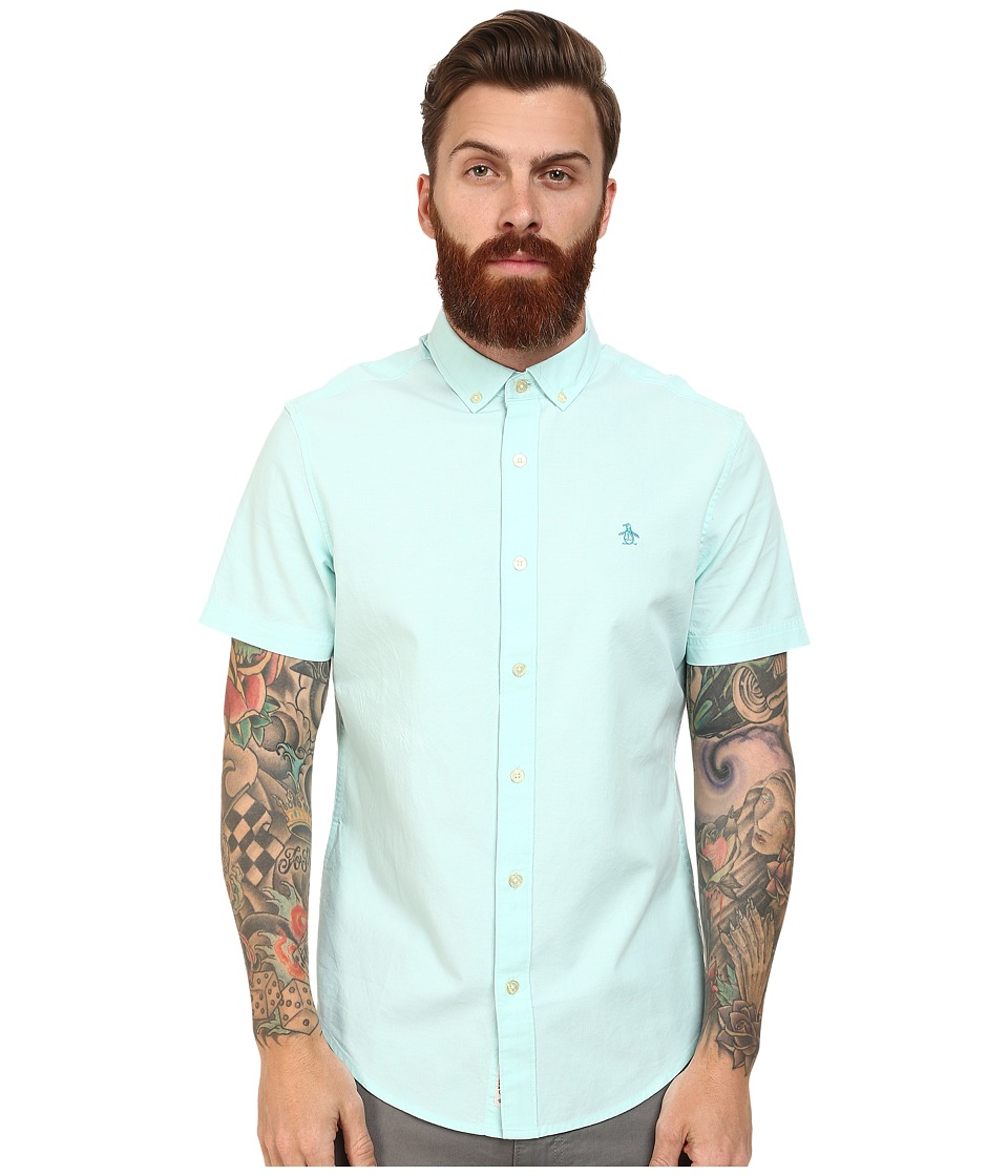 Original Penguin - Core Short Sleeve Oxford Heritage (Blue Tint) Men's Clothing